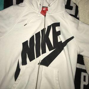 White Nike Zip Hoodie